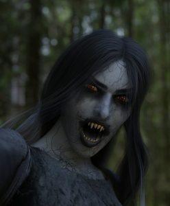 Kuvassa pelottava punasilmäinen ja pitkähampainen, harmaaihoinen ja tummahiuksinen ihmistä muistuttava hahmo