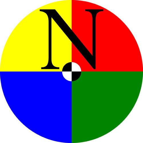 Nysalor-kustannuksen logo - neljään eriväriseen lohkoon jaettu ympyrä, jossa kirjain N kahdessa ylemmässä lohkossa. Keskellä mustavalkoisiin lohkoihin jaettu ympyrä.