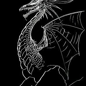 Kuvassa valkoisella piirretty tyylitelty lohikäärme mustalla pohjalla.